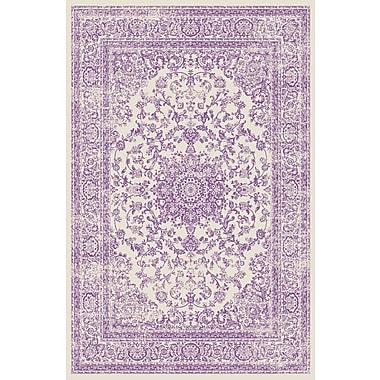 Ophelia & Co. Zander Medallion Ivory/Purple Indoor Area Rug; 5'3'' x 7'3''