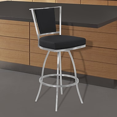 Orren Ellis Halie 26'' Swivel Bar Stool; Black