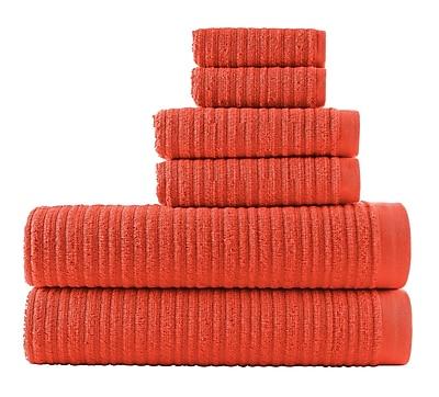 Winston Porter Blair Solid 6 Piece Towel Set; Sunset Orange