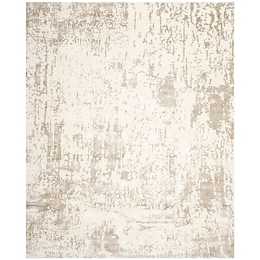 17 Stories Maxen Hand-Knotted Ivory/Gray Area Rug; 8' x 10'