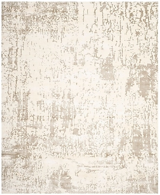 17 Stories Maxen Hand-Knotted Ivory/Gray Area Rug; 9' x 12'