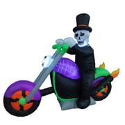The Holiday Aisle Halloween Inflatable Skeleton on Motorcycle