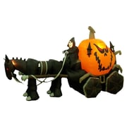 The Holiday Aisle Halloween Inflatable Skeleton Ghost Driving Carriage...