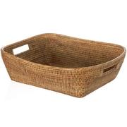 World Menagerie Blanchard Handwoven Oblong Rattan Storage Basket; Honey Brown
