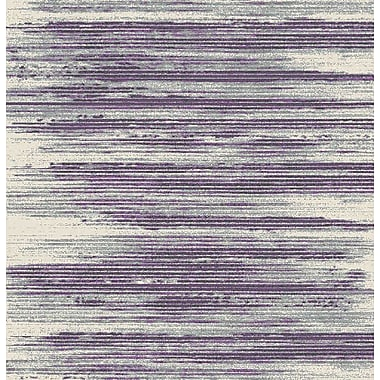Williston Forge Tierra Stripe Ivory/Purple Area Rug; 5'3'' x 7'3''