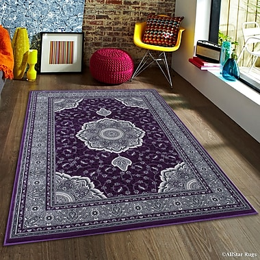 Inouye High-End Ultra-Dense Thick Woven Floral Art Deco Patterned Raspberry Area Rug
