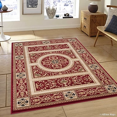 Bloomsbury Market Hubbard High-End Ultra-Dense Thick Woven Floral Red Area Rug; 5'3'' x 7'5''