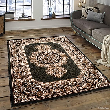 Astoria Grand Arkin High-Quality Woven Double Shot Drop-Stitch Carving Green Area Rug; 5'2'' x 7'2''