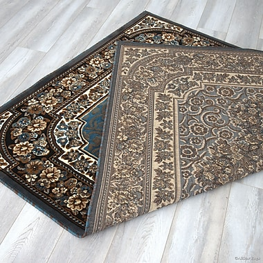 Astoria Grand Arkin High-Quality Floral Double Shot Drop-Stitch Carving Light Blue Area Rug