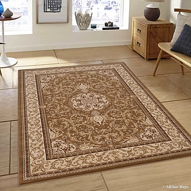 Astoria Grand Arpdale High-End Ultra-Dense Thick Bordered Floral Beige Area Rug; 5'3'' x 7'5''