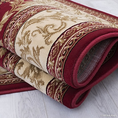 Astoria Grand Arpdale High-End Ultra-Dense Thick Bordered Floral Red Area Rug; 5'3'' x 7'5''