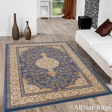 Astoria Grand Arpdale High-End Ultra-Dense Thick Bordered Floral Sage Blue Area Rug; 5'3'' x 7'5''