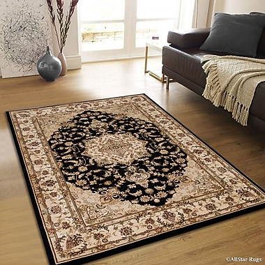 Astoria Grand Arison High-End Ultra-Dense Woven Patterned Black Area Rug; 5'3'' x 7'5''
