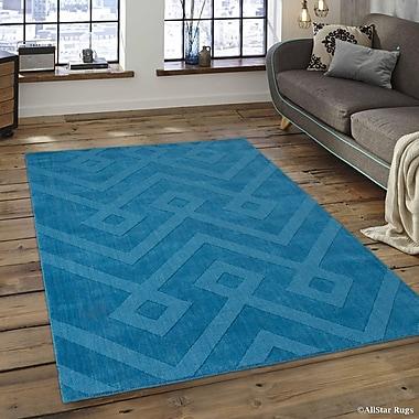 Brayden Studio Given Ultra-Soft High-Quality Wool Aztec Designed Ocean Area Rug; 4'11'' x 7'