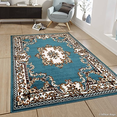 Charlton Home Bellomy Light Blue Area Rug; 5'2'' x 7'1''