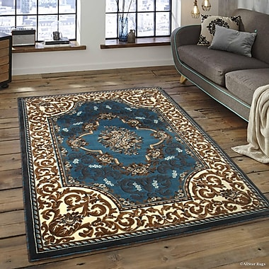 Andrews High-Quality Woven Floral Printed Double Shot Drop-Stitch Carving Light Blue Area Rug