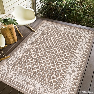 Charlton Home Benningfield Rectangle All Weather Mocha Indoor/Outdoor Area Rug; 5' x 7'