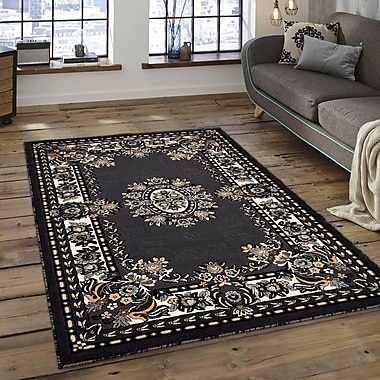 Charlton Home Andrews Rectangle Vintage Floral Bordered Gray Area Rug; 5'2'' x 7'2''