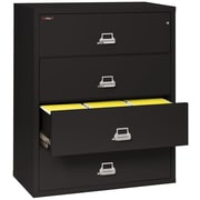 "FireKing Lateral 4 Drawer 44"" Fireproof File Cabinet - Black (4-4422-CBLI)"