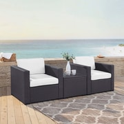 Highland Dunes Dinah 2 Person Outdoor Wicker 3 Piece Deep Seating Group w/ Cushion; White