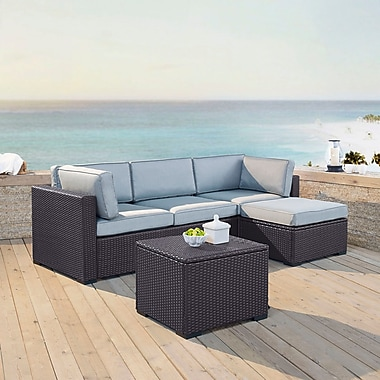 Highland Dunes Dinah 4 Person Outdoor Wicker 4 Piece Sectional Seating Group w/ Cushion; Mist