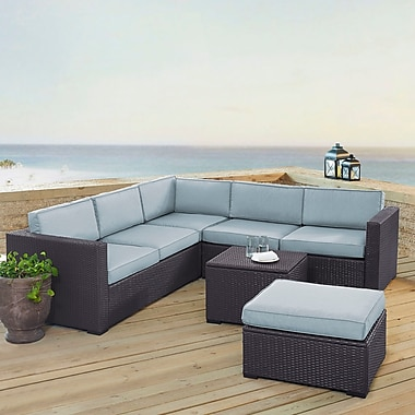 Highland Dunes Dinah 6 Person Outdoor Wicker 5 Piece Sectional Seating Group w/ Cushion; Mist