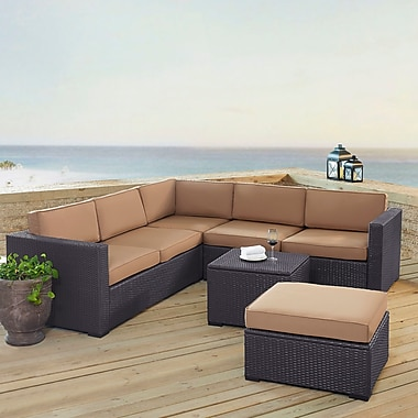 Highland Dunes Dinah 6 Person Outdoor Wicker 5 Piece Sectional Seating Group w/ Cushion; Mocha