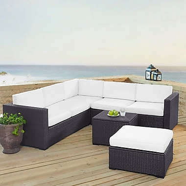 Highland Dunes Dinah 6 Person Outdoor Wicker 5 Piece Sectional Seating Group w/ Cushion; White