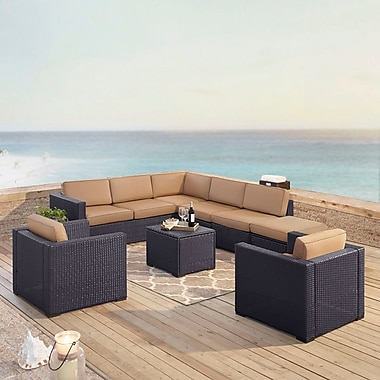 Highland Dunes Dinah 8 Person Outdoor Wicker 7 Piece Sectional Seating Group w/ Cushion; Mocha
