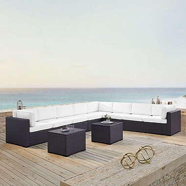 Highland Dunes Dinah 8 Person Outdoor Wicker 6 Piece Sectional Seating Group w/ Cushion; White