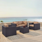 Highland Dunes Dinah 4 Person Outdoor Wicker 5 Piece Sectional Seating Group w/ Cushion; Mocha