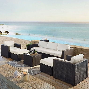Highland Dunes Dinah 9 Person Outdoor Wicker 7 Piece Sectional Seating Group w/ Cushion; White