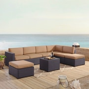 Highland Dunes Dinah 7 Person Outdoor Wicker 6 Piece Sectional Seating Group w/ Cushion; Mocha