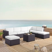 Highland Dunes Dinah 7 Person Outdoor Wicker 6 Piece Sectional Seating Group w/ Cushion; White