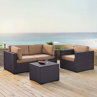 Highland Dunes Dinah 3 Person Outdoor Wicker 4 Piece Sectional Seating Group w/ Cushion; Mocha