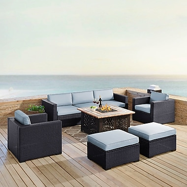 Highland Dunes Dinah 7 Person Outdoor Wicker 7 Piece Sectional Seating Group w/ Cushion; Mist