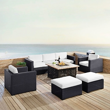 Highland Dunes Dinah 7 Person Outdoor Wicker 7 Piece Sectional Seating Group w/ Cushion; White