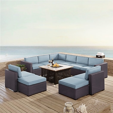 Highland Dunes Dinah 10 Person Outdoor Wicker 8 Piece Sectional Seating Group w/ Cushion; Mist