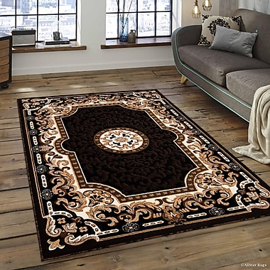 Fleur De Lis Living Berwick Floral Bordered Black Area Rug; 7'10'' x 10'2''