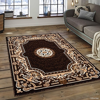 Fleur De Lis Living Berwick Floral Bordered Chocolate Area Rug; 7'10'' x 10'2''