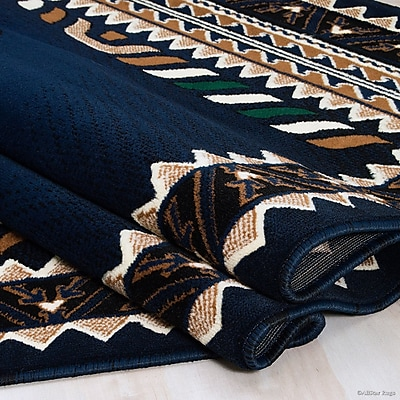 Loon Peak Iberide High-Quality Woven Navy Area Rug; 7'10'' x 10'2''