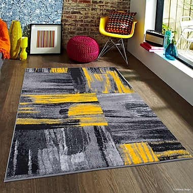 Latitude Run Keeler Yellow Area Rug; 7'10'' x 10'
