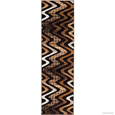 Latitude Run Keeler High-Quality Drop-Stitch Distressed Wavy Linear Chocolate Area Rug
