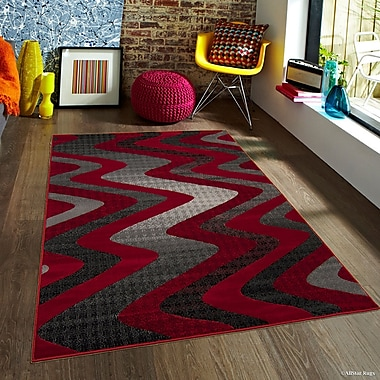 Latitude Run Keeler High-Quality Drop-Stitch Wavy Linear Designed Red Area Rug; 5' x 6'11''