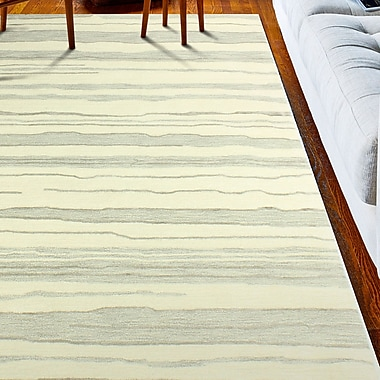 Latitude Run Kelson Hand-Tufted Ivory/Silver Area Rug; 6' x 9'