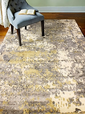 17 Stories Darlene Hand-Knotted Viscose Ivory/Gray Area Rug; 6' x 9'