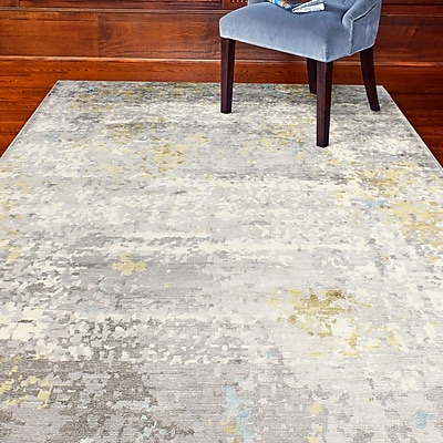 17 Stories Darlene Hand-Knotted Gray Area Rug; 8' x 10'