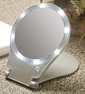 Symple Stuff 10x Lighted Round Travel and Home Mirror WYF078281312314