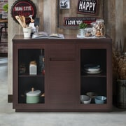 Gracie Oaks Lakeasha Contemporary Buffet Table; Walnut