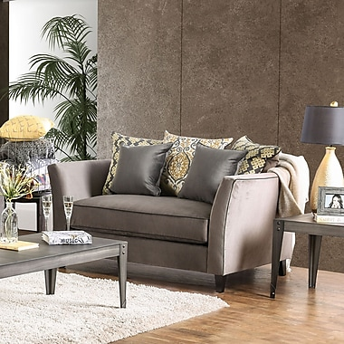 Darby Home Co Meyer Contemporary Loveseat; Light Gray/Red